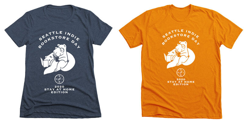 Seattle Indie Bookstore Day T-shirts, Slate and Orange